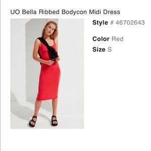 Urban Outfitters Bella Ribbed Bodycon Midi Dress